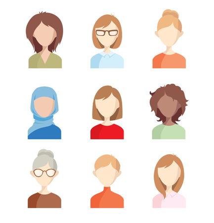 Illustration pour Avatars - girls. Set of vector illustrations of women faces. - image libre de droit