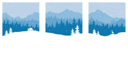 Illustration pour Abstract landscape with mountains and forest. Three vector illustrations. Set of Christmas wallpaper. - image libre de droit