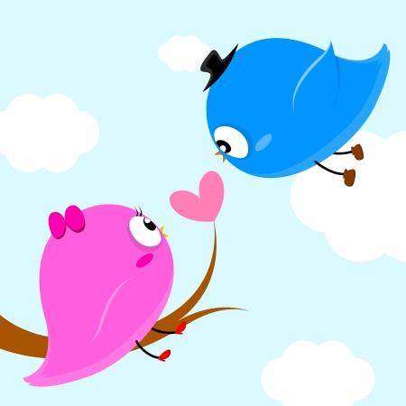 Illustration pour two birds on branch with heart leaf so sweet - image libre de droit