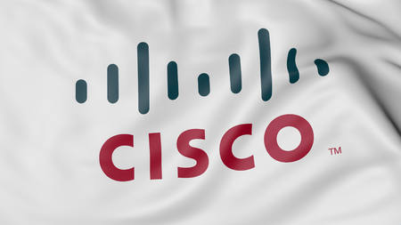 Close up of waving flag with Cisco logo, United States