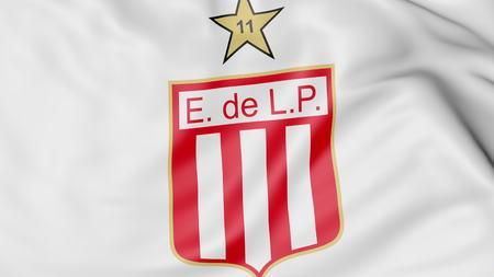 Close-up of waving flag with Estudiantes de LaPlata football club logo, 3D rendering