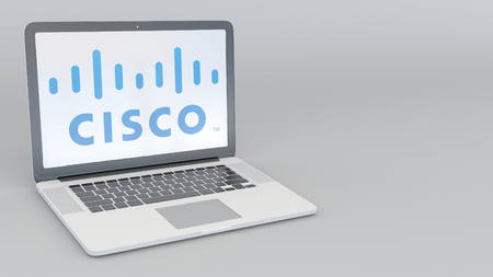 Laptop with Cisco Systems logo. Computer technology conceptual editorial 3D rendering