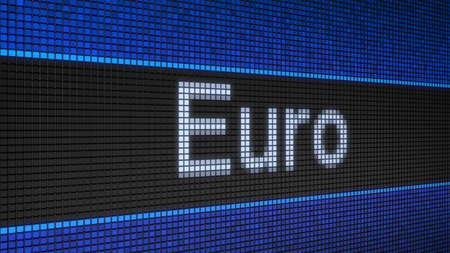 Ticker board with running text Euro