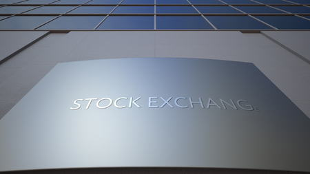 Abstract stock exchange signage board. Modern office building. 3D rendering