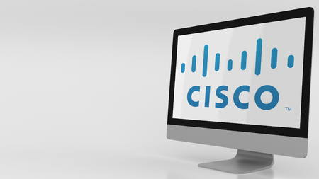 Modern computer screen with Cisco logo. Editorial 3D rendering