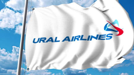Waving flag with Ural Airlines logo. 3D rendering