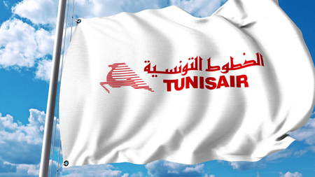 Waving flag with Tunisair logo. 3D rendering