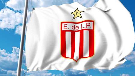 Waving flag with Estudiantes de Laplata football club logo. Editorial 3D rendering