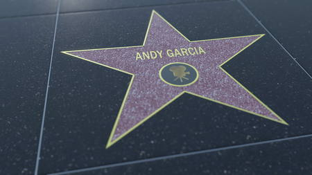 Hollywood Walk of Fame star with ANDY GARCIA inscription.