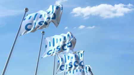 Waving flags with Cisco logo against sky, editorial 3D rendering