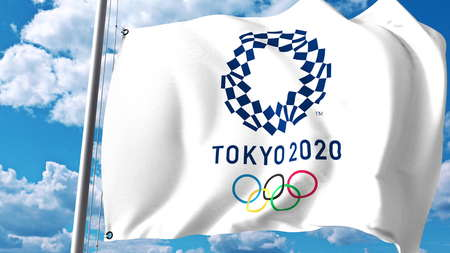 Waving flag with 2020 Summer Olympics logo against clouds and sky. Editorial 3D rendering