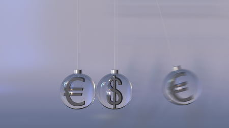 Swinging Newtons cradle made of dollar and euro currency symbols. Forex interaction, international banking or multicurrency operation concepts. 3D rendering