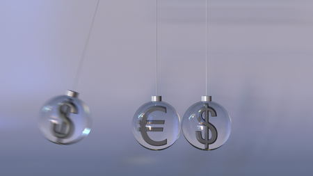 Swinging Newtons cradle made of euro and dollar currency signs. Forex interaction, international banking or multicurrency operation concepts. 3D rendering
