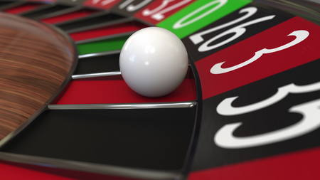 Casino roulette wheel ball hits 3 three red. 3D rendering