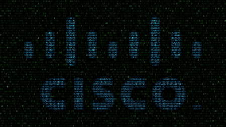 Cisco Systems logo made of hexadecimal symbols on computer screen. Editorial 3D rendering