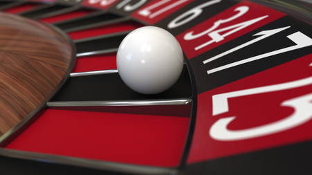 Casino roulette wheel ball hits 17 seventeen black. 3D rendering