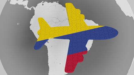 Airplane puzzle featuring flag of Colombia against the world ...