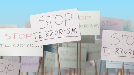 STOP TERRORISM placards at street demonstration. Conceptual 3D rendering