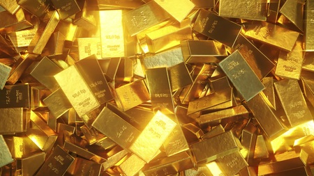 Foto de Shiny gold bullions. 3D rendering - Imagen libre de derechos