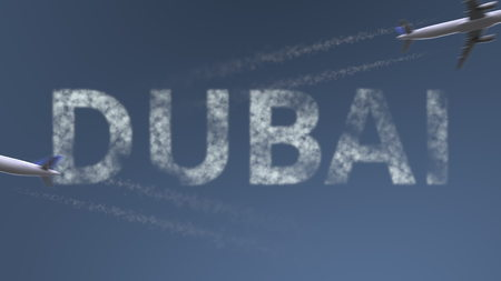 Photo pour Flying airplanes trails and Dubai caption. Traveling to the United Arab Emirates conceptual 3D rendering - image libre de droit
