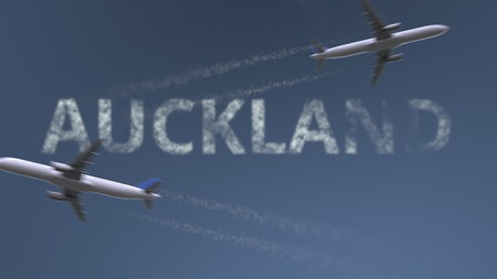 Photo pour Flying airplanes trails and Auckland caption. Traveling to New Zealand conceptual 3D rendering - image libre de droit