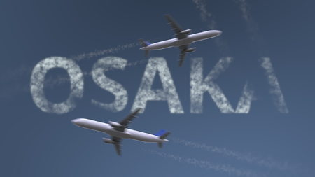 Photo pour Flying airplanes trails and Osaka caption. Traveling to Japan conceptual 3D rendering - image libre de droit