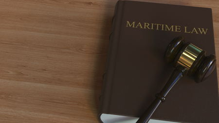 Photo for Court gavel on MARITIME LAW book. Conceptual 3D rendering - Royalty Free Image