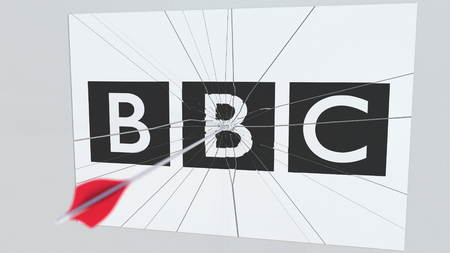 Archery arrow hits plate with BBC logo. Corporate problems conceptual editorial 3D rendering