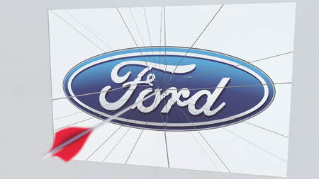 Archery arrow hits plate with FORD logo. Corporate problems conceptual editorial 3D rendering