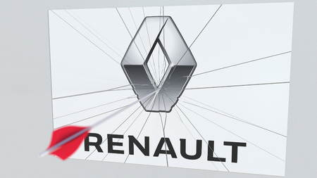 RENAULT company logo being cracked by archery arrow. Corporate problems conceptual editorial 3D rendering