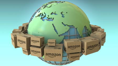 Boxes with AMAZON logo rotate around the world, Africa and Europe emphasized. Conceptual editorial 3D rendering