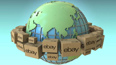 Many cartons with eBay logo around the world, Asia emphasized. Conceptual editorial 3D rendering