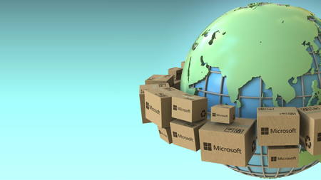 Photo for Boxes with Microsoft logo around the world, Asia emphasized. Conceptual editorial 3D rendering - Royalty Free Image
