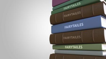 Photo pour Stack of fairytale books, 3D rendering - image libre de droit