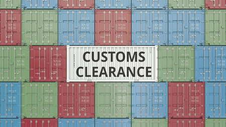 Photo pour Container with CUSTOMS CLEARANCE text. 3D rendering - image libre de droit
