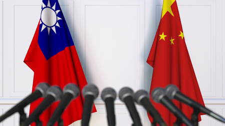 Photo pour Flags of Taiwan and China at international meeting or negotiations press conference. 3D rendering - image libre de droit