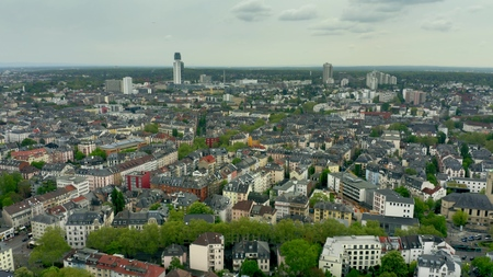 Photo pour Aerial view of residentail area of Frankfurt am Main, Germany - image libre de droit