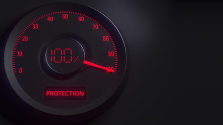 Red and black protection meter or indicator, 3D rendering