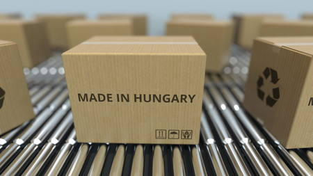 Photo pour Boxes with MADE IN HUNGARY text on roller conveyor. Hungarian goods related 3D rendering - image libre de droit