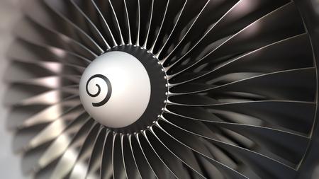 Photo pour Turbojet turbine engine blades rotation close-up, realistic 3D rendering - image libre de droit