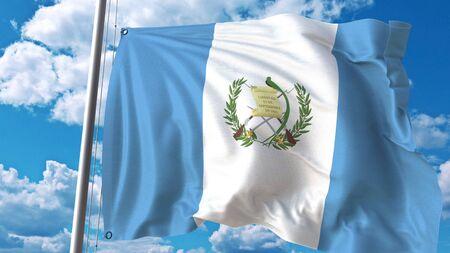 Photo pour Waving flag of Guatemala on sky background. 3D rendering - image libre de droit