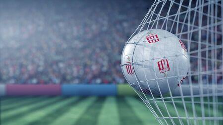 Ball with Estudiantes de Laplata football club logo hits football goal net. Conceptual editorial 3D rendering