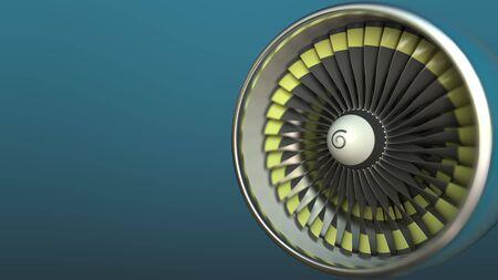 Photo pour Airplane turbine engine close-up 3D rendering - image libre de droit