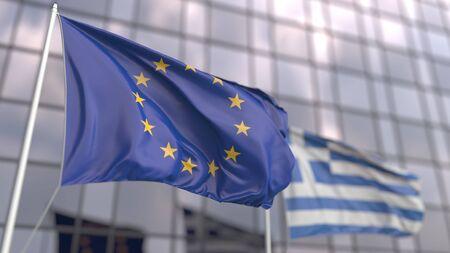 Photo pour Waving flags of the European Union EU and Greece in front of a modern skyscraper facade. 3D rendering - image libre de droit