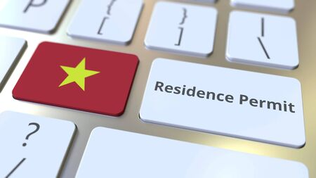 Photo pour Residence Permit text and flag of Vietnam on the buttons on the computer keyboard. Immigration related conceptual 3D rendering - image libre de droit