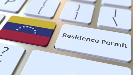 Photo pour Residence Permit text and flag of Venezuela on the buttons on the computer keyboard. Immigration related conceptual 3D rendering - image libre de droit