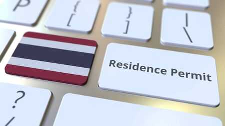 Photo pour Residence Permit text and flag of Thailand on the buttons on the computer keyboard. Immigration related conceptual 3D rendering - image libre de droit