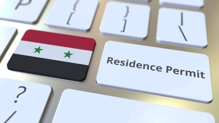 Photo pour Residence Permit text and flag of Syria on the buttons on the computer keyboard. Immigration related conceptual 3D rendering - image libre de droit