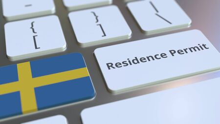 Photo pour Residence Permit text and flag of Sweden on the buttons on the computer keyboard. Immigration related conceptual 3D rendering - image libre de droit