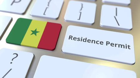 Photo pour Residence Permit text and flag of Senegal on the buttons on the computer keyboard. Immigration related conceptual 3D rendering - image libre de droit